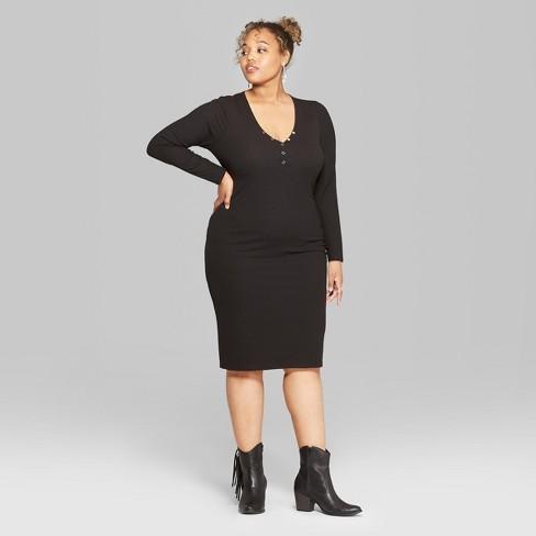 94a980c3f256e Women s Plus Size Long Sleeve Rib Henley Midi Dress - Wild Fable™ Black 2X    Target