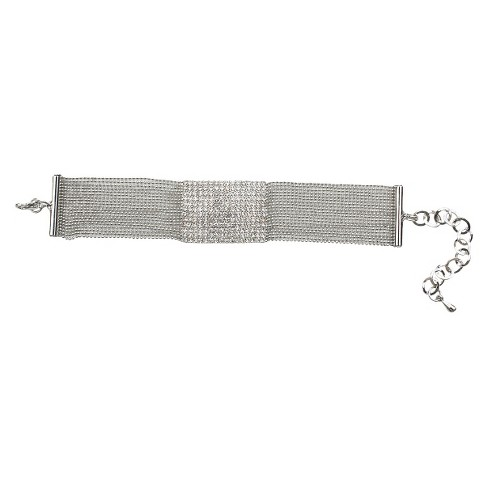 Multi-Pave Fine Crystal Square with Multi-Link Strands Bracelet and Lobster Clasp - Rhodium - image 1 of 1