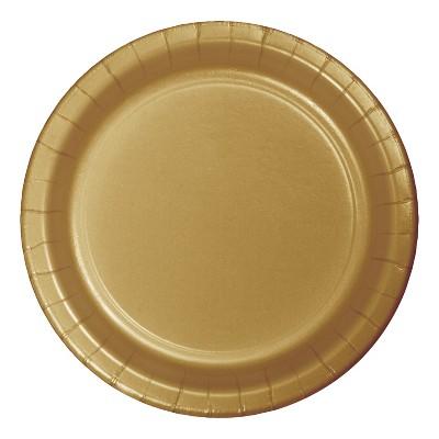 "9"" Round 60ct Disposable Dinner Plate Gold - Spritz™"