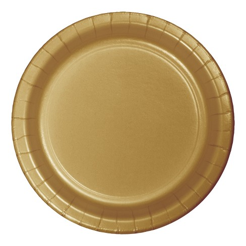 """9"""" Round 60ct Disposable Dinner Plate Gold - Spritz™ - image 1 of 1"""