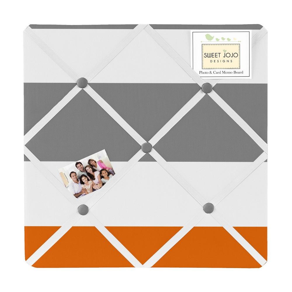 Gray and Orange Stripe Photo Memo Board (13x13) - Sweet Jojo Designs