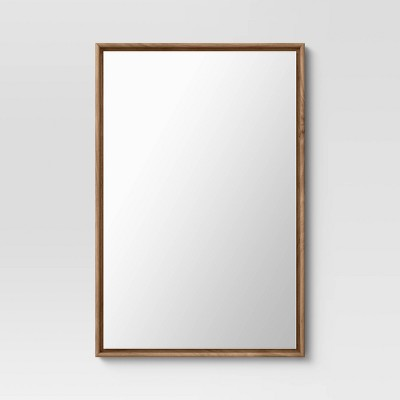 "24"" x 36"" Narrow Border Floating Walnut Recycled Wall Mirror - Project 62™"