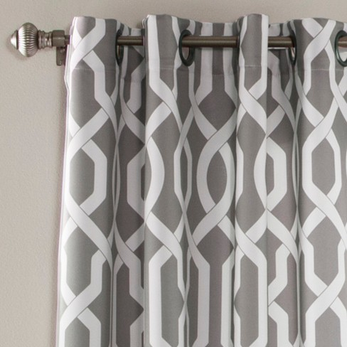 Edward Trellis Room Darkening Window Curtain Set Gray