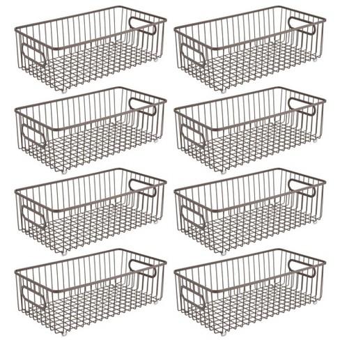 Mdesign Metal Kitchen Pantry Food Storage Basket Bin Long 8 Pack Bronze Target