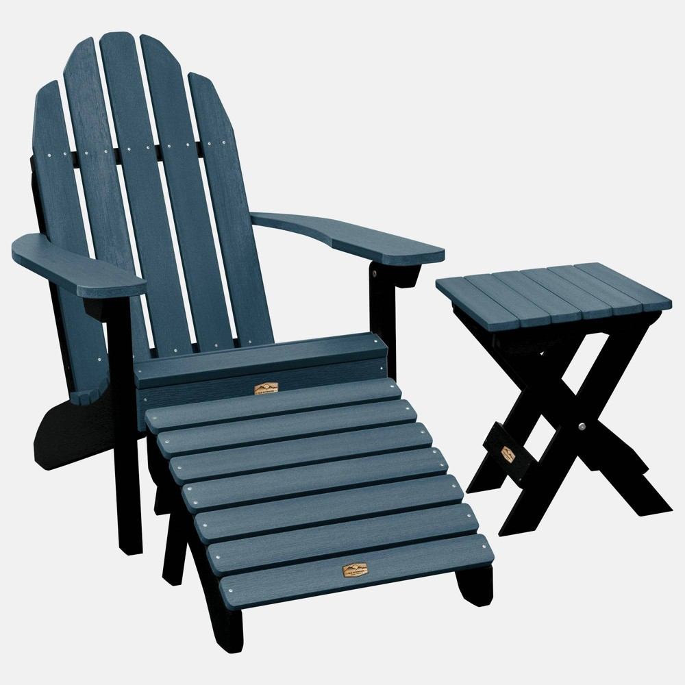 Image of Essential Adirondack Patio Chair with Ottoman & Side Table Gray - highwood