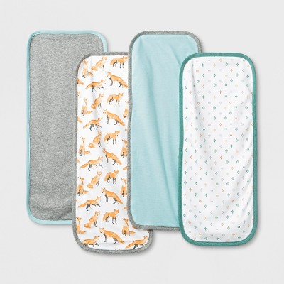 Baby 4pk Burp Cloth Set - Cloud Island™ Aqua/Gray/White