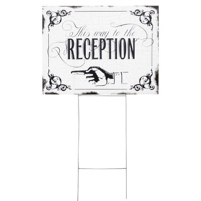 """Wedding Reception Yard Sign - """"This Way To The Reception"""""""
