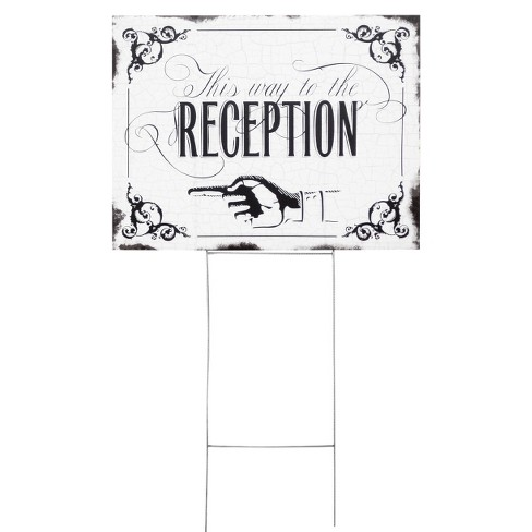 "Wedding Reception Yard Sign - ""This Way To The Reception"" - image 1 of 2"