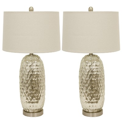 "20.5"" Set of 2 Antique Mercury Dimple Glass Table Lamps Gold - Decor Therapy"