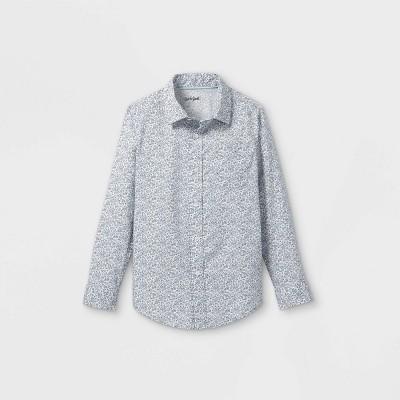 Boys' Woven Long Sleeve Button-Down Shirt - Cat & Jack™ Cream/Blue