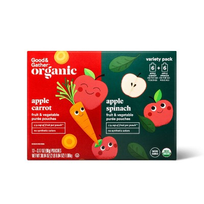Organic Applesauce Pouches - Apple Carrot & Apple Spinach - 12ct - Good & Gather™