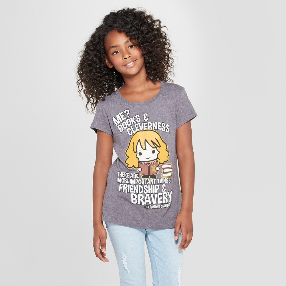 Girls' Harry Potter Hermione Granger Weekend Booked Short Sleeve T-Shirt - Charcoal Heather S, Gray