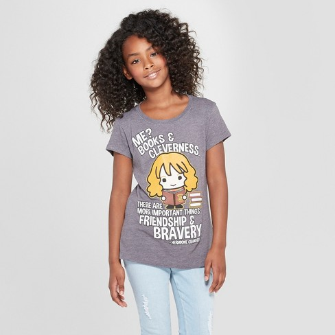 08f64190 Girls' Harry Potter Hermione Granger Weekend Booked Short Sleeve T-shirt -  Charcoal Heather : Target