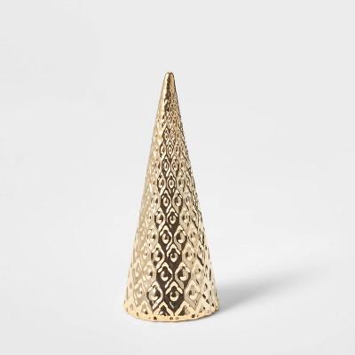Small Art Deco Ceramic Tree Cone Decorative Figurine Silver - Wondershop™