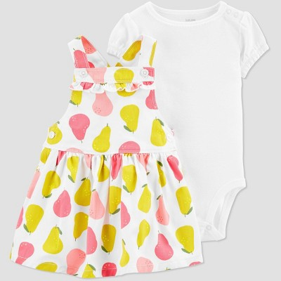 Baby Girls' 2pc Pears Skirtall Set - Just One You® made by carter's White Newborn