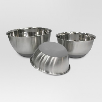 Stainless Steel Non Skid Mixing Bowl Set of 3 - Threshold™