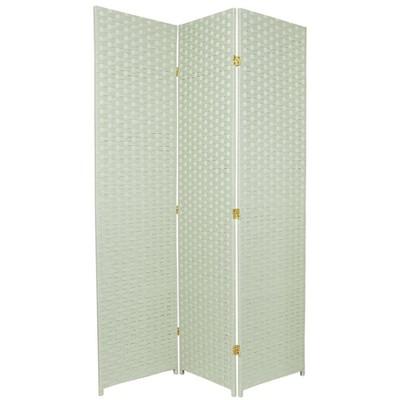 Oriental Furniture 6' Tall Woven Fiber Room Divider Special Edition 3 Panel Light Green