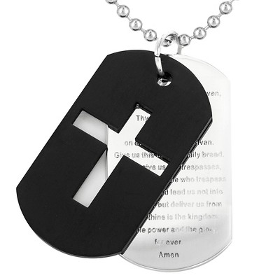 Men's Stainless Steel Plated Cross and 'Lord's Prayer' Double Dog Tag Necklace - Black