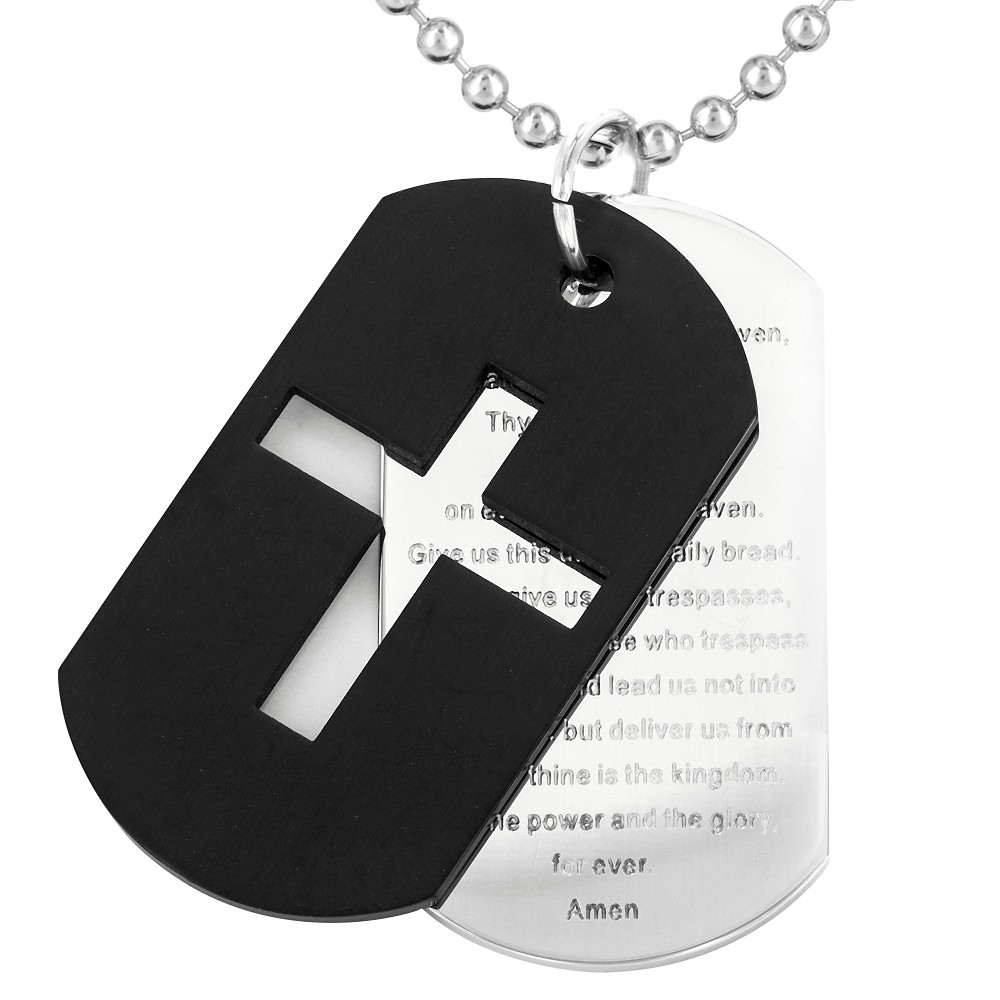 Men's Stainless Steel Plated Cross and 'Lord's Prayer' Double Dog Tag Necklace - Black, Silver/Black
