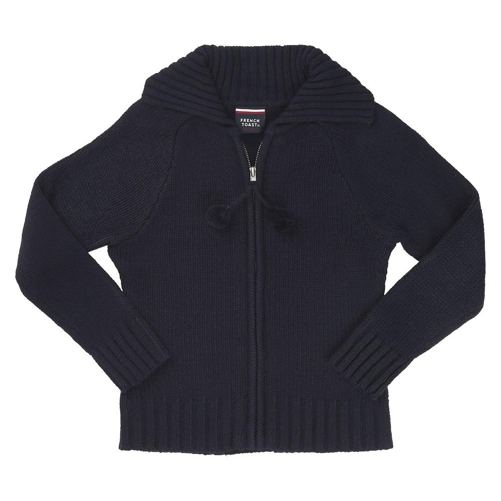 French Toast Girls' Zip UP Uniform Cardigan Sweater - Navy (Blue) M