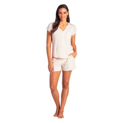 Softies Women's Cap Sleeve PJ Shorts Set with Contrast Piping