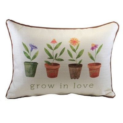 """Home Decor 14.0"""" Grow In Love Pillow Gardening Potted Plants  -  Decorative Pillow"""