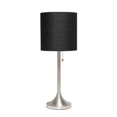 Tapered Desk Lamp with Fabric Drum Shade Black/Silver - Simple Designs