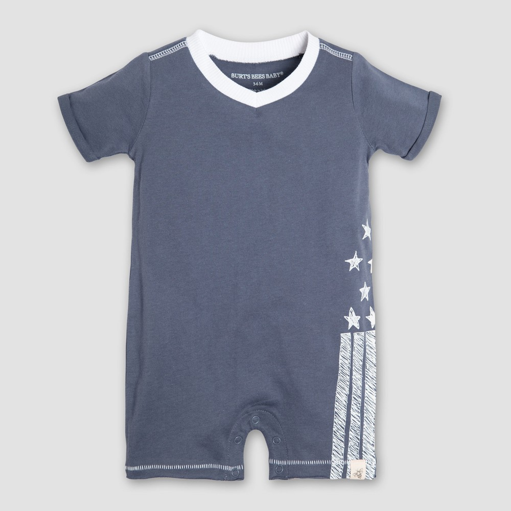 Burt's Bees Baby Boys' Organic Cotton Stars and Stripes Shortall - Blue 0-3M