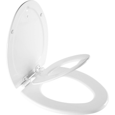Mayfair NextStep2 Never Loosens Elongated Enameled Wood Children's Potty Training Toilet Seat with Easy Clean and Slow Close Hinge - White