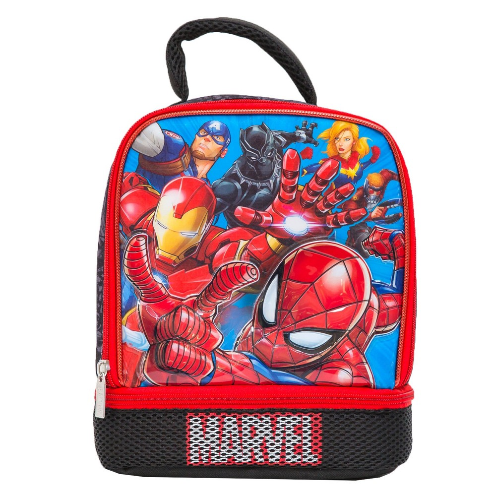 Image of Marvel Avengers Dual Compartment Lunch Bag - Red/Black