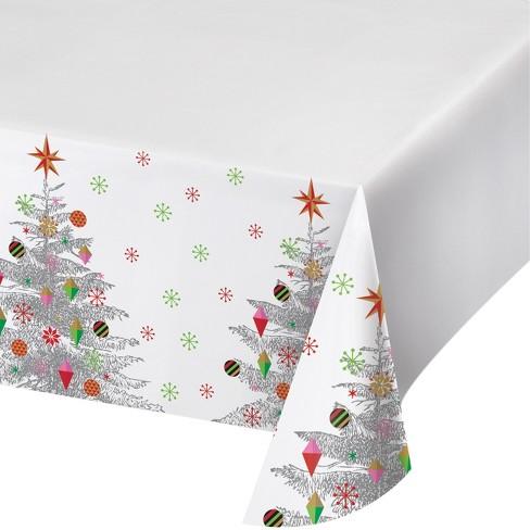 bright christmas tree plastic tablecloth