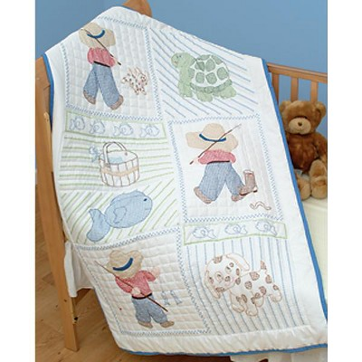 """Jack Dempsey Stamped White Quilt Crib Top 40""""X60""""-Little Boys"""