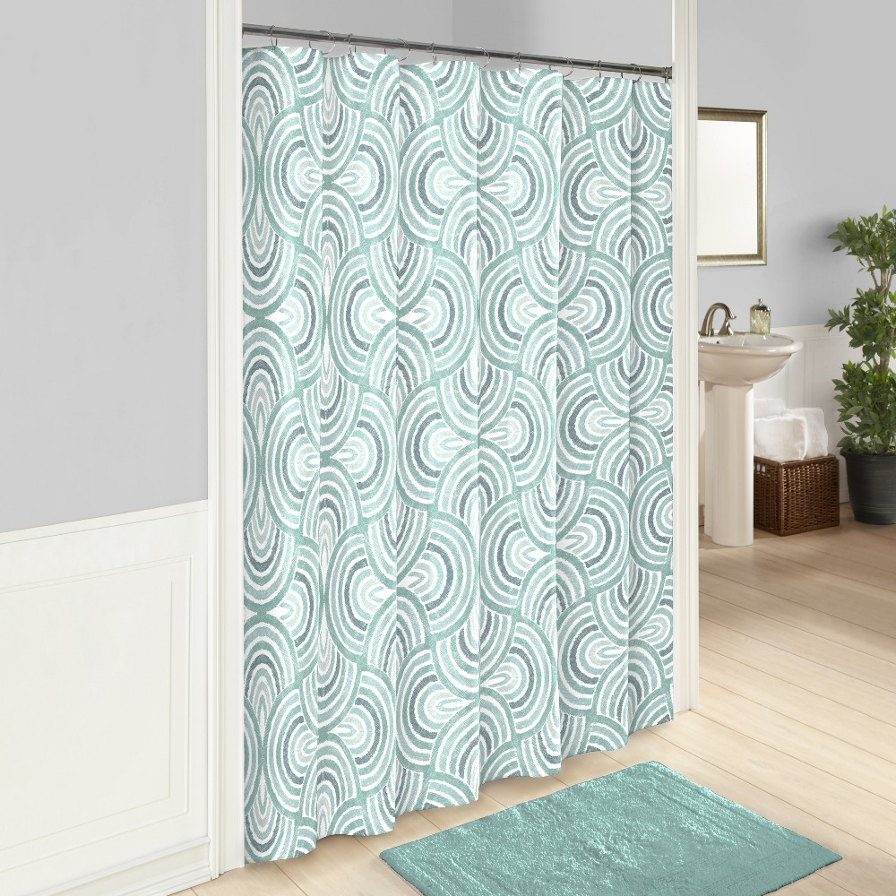 Image of Frenchy Printed Shower Curtain Blue - Vue