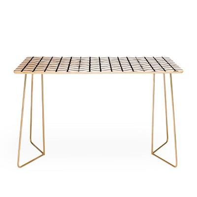 Wonder Forest Grid Lock Black and Gold Desk - Deny Designs