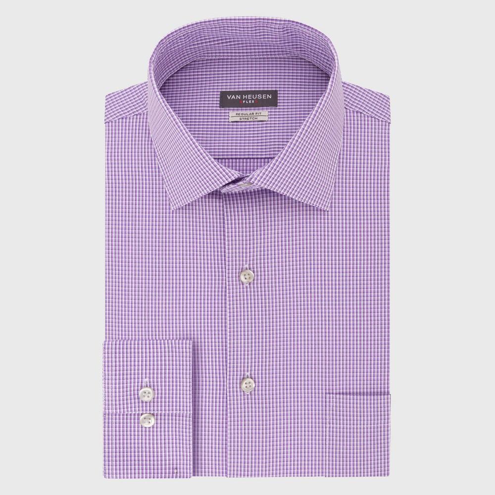 Men 39 S Regular Fit Long Sleeve Flex Button Down Shirt Van Heusen Purple Basket Weave 15 5 32 33