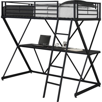 Twin Silas Loft Bed with Desk Black - Room & Joy