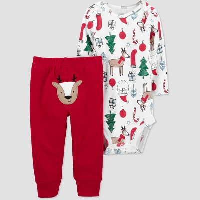 Baby 2pc Reindeer Top and Bottom Set - Just One You® made by carter's White/Brown/Red Newborn