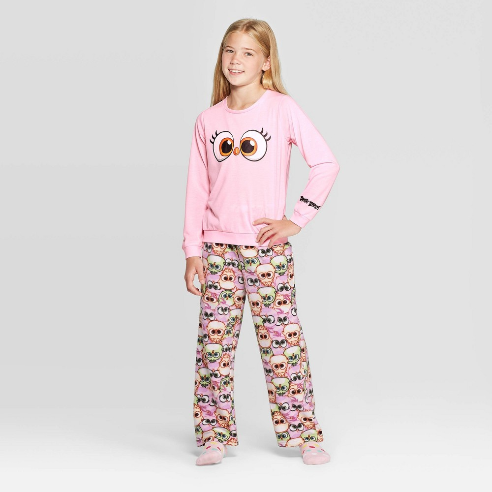 Image of Girls' Angry Birds Stella 2pc Pajama Set - Pink L, Girl's, Size: Large
