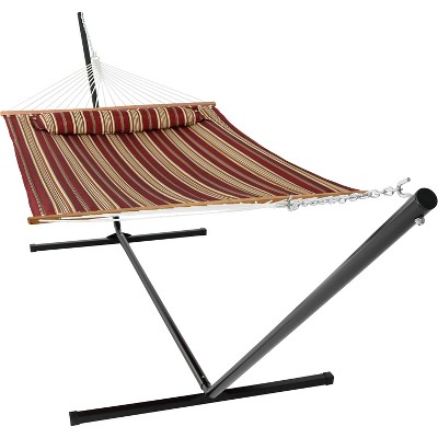 Sunnydaze 2-Person Freestanding Quilted Fabric Spreader Bar Hammock with Detachable Pillow and Stand - 400 lb Weight Capacity/15' Stand - Red Stripe