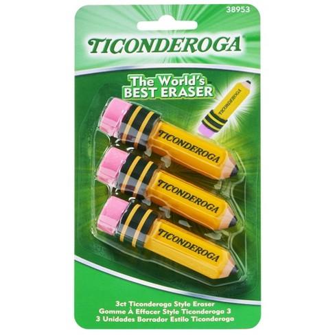 3ct Ticonderoga Erasers Multiple Colors - image 1 of 4