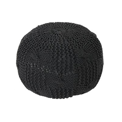 Anouk Knitted Cotton Pouf Dark Gray - Christopher Knight Home