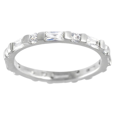 Tressa Collection Round Cut and Baguette Cubic Zirconia Eternity Band Ring in Sterling Silver - image 1 of 3
