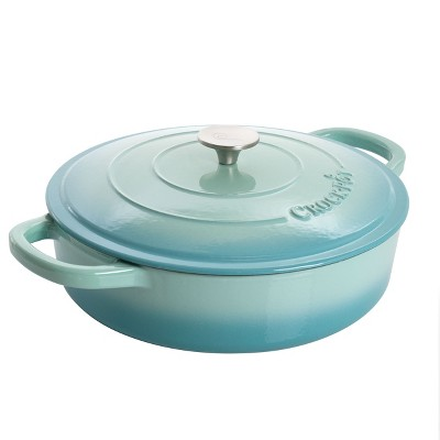 Crock-Pot 5 Quart Artisan Enameled Cast Iron Braiser Pan with Self Basting Lid