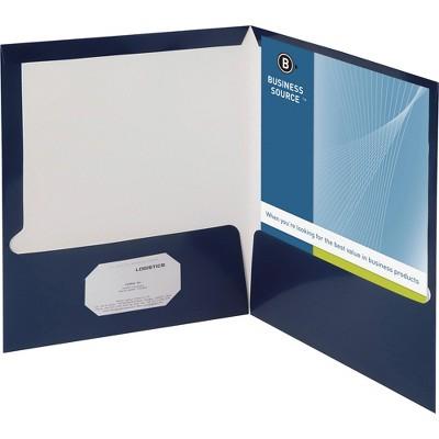 Business Source Two Pocket Folder Ltr 2-Pkts 100 Shts 25/BX NY 44430