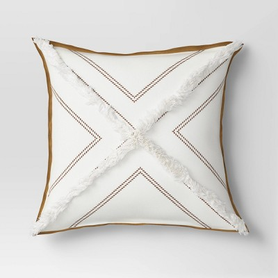 Square Embroidered Pillow with Faux Leather Trim Cream - Threshold™