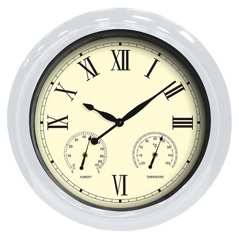 "Weather Center 18"" Round Wall Clock Beige/White - Poolmaster® - image 1 of 1"