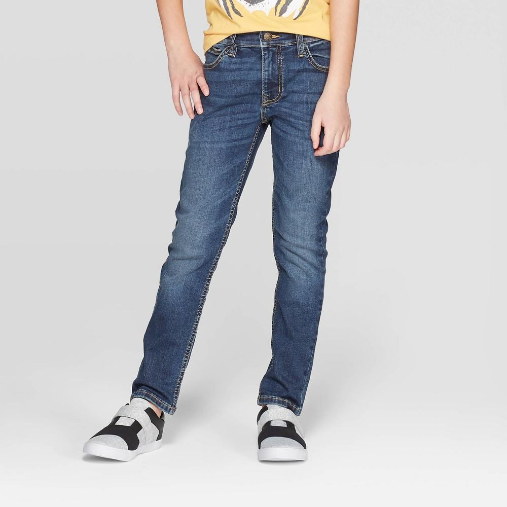 Image of Boys' Cordura Tough Denim Skinny Jeans – Cat & Jack Medium Wash 10, Boy's, Medium Blue