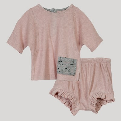 Afton Street Baby Girls' 2pc Hacci Top and Diaper Cover Set - Pink 0-3M