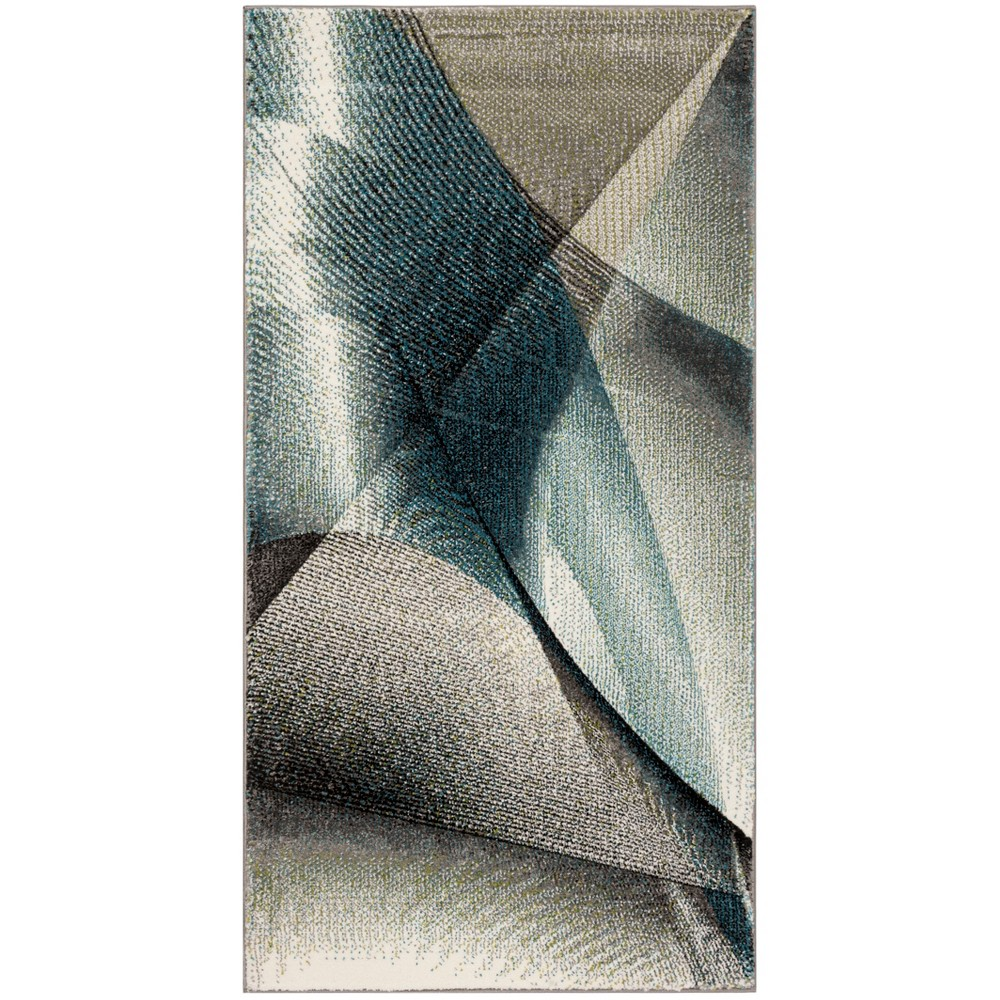 27X5 Geometric Loomed Accent Rug Gray/Teal - Safavieh Coupons