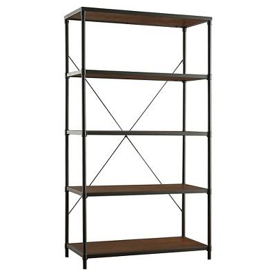 "72"" Webster 4 Shelf Mixed Media Bookshelf Black - Inspire Q"